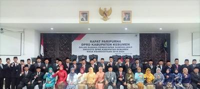 Rapat Paripurna Pengambilan Sumpah/Janji Anggota DPRD Kebumen Masa Bakti  2019-2024 Berlangsung Lancar